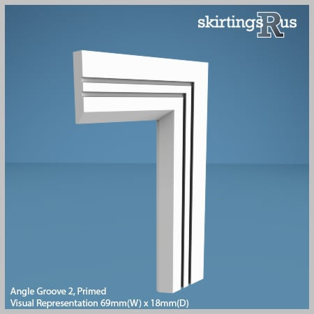 Visual Representation of Angle Groove 2 MDF Architrave with a primed finish (69mm W x 18mm D)