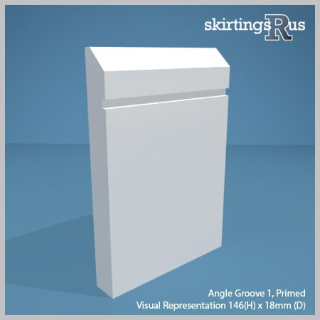 Visual representation of a sample of Angle Groove 1 MDF Skirting Board with a primed finish (146mm H x 18mm D)