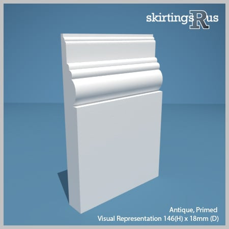 Visual representation of a sample of Antique MDF Skirting Board with a primed finish (146mm H x 18mm D)