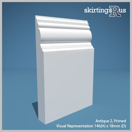 Visual representation of a sample of Antique 2 MDF Skirting Board with a primed finish (146mm H x 18mm D)