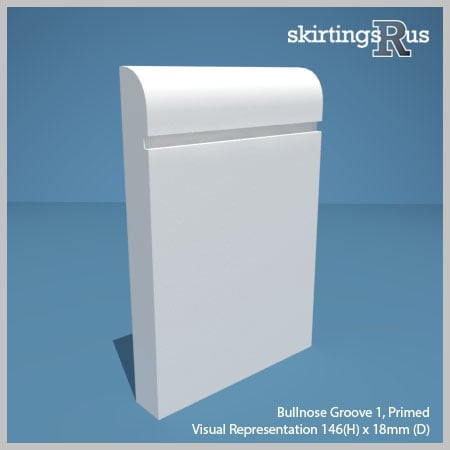 Visual representation of a sample of Bullnose Groove 1 MDF Skirting Board with a primed finish (146mm H x 18mm D)