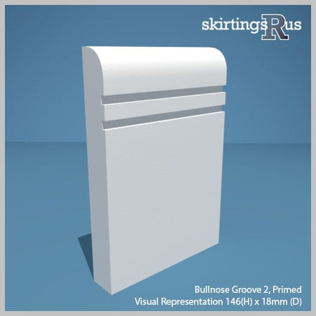 Visual representation of a sample of Bullnose Groove 2 MDF Skirting Board with a primed finish (146mm H x 18mm D)