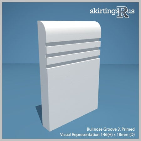 Visual representation of a sample of Bullnose Groove 3 MDF Skirting Board with a primed finish (146mm H x 18mm D)