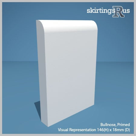 Visual representation of a sample of Bullnose MDF Skirting Board with a primed finish (146mm H x 18mm D)