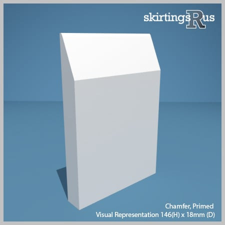 Visual Representation of Chamfer MDF Skirting Board with a primed finish (146mmH x 18mmD)