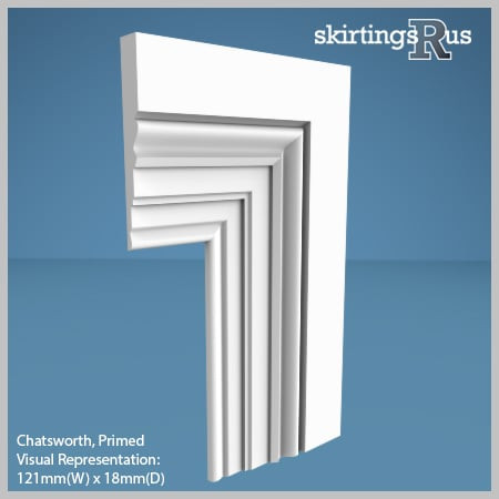 Visual Representation of Chatsworth MDF Architrave with a primed finish (69mm W x 18mm D)