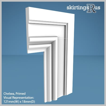 Visual Representation of Chelsea MDF Architrave with a primed finish (69mm W x 18mm D)