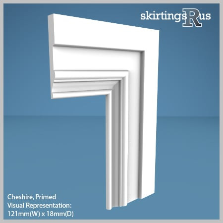 Visual Representation of Cheshire MDF Architrave with a primed finish (69mm W x 18mm D)