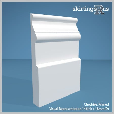 Visual representation of a sample of Cheshire MDF Skirting Board with a primed finish (146mm H x 18mm D)
