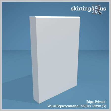 Visual representation of a sample of Edge MDF Skirting Board with a primed finish (146mm H x 18mm D)
