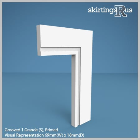 Visual Representation of Grooved Grande 1 (S) MDF Architrave with a primed finish (69mm W x 18mm D)