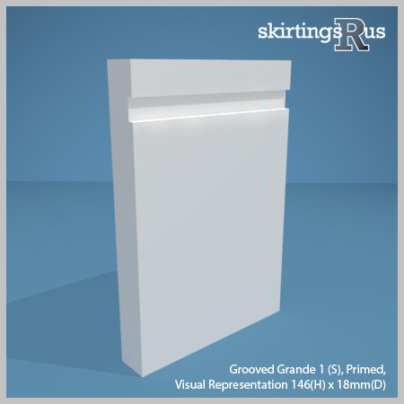 Visual representation of a sample of Grooved Grande 1 (S) MDF Skirting Board and Architrave with a primed finish (146mm H x 18mm D)