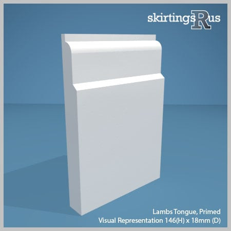 Visual representation of a sample of Lambs Tongue MDF Skirting Board with a primed finish (146mm H x 18mm D)