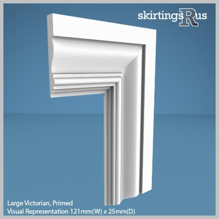 Visual Representation of Large Victorian MDF Architrave with a primed finish (69mm W x 18mm D)
