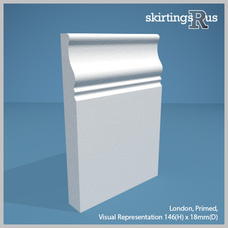 London MDF Skirting Board - visual representation of the profile - 146mm(H) x 18mm(D)