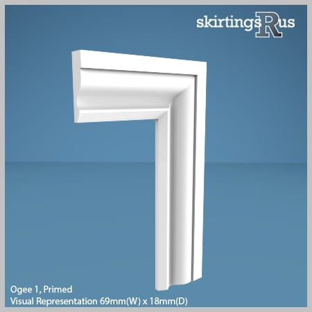 Visual Representation of Ogee 1 MDF Architrave with a primed finish (69mm W x 18mm D)