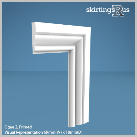 Visual Representation of Ogee 2 MDF Architrave with a primed finish (69mm W x 18mm D)