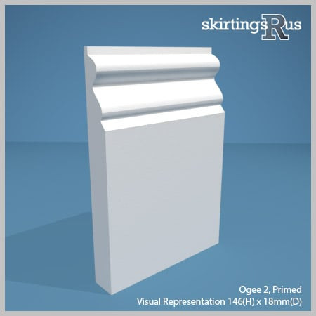 Visual representation of a sample of Ogee 2 MDF Skirting Board with a primed finish (146mm H x 18mm D)