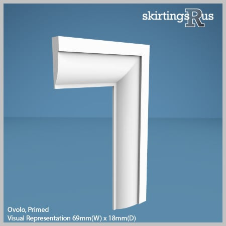 Visual Representation of Ovolo MDF Architrave with a primed finish (69mm W x 18mm D)