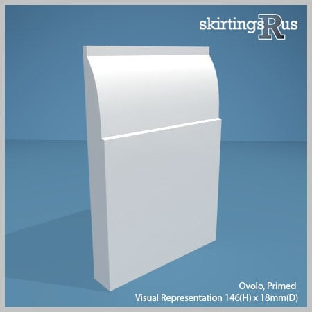 Visual representation of a sample of Ovolo MDF Skirting Board with a primed finish (146mm H x 18mm D)