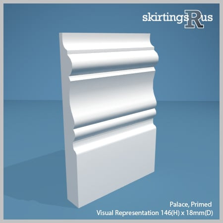 Visual representation of a sample of Palace MDF Skirting Board with a primed finish (146mm H x 18mm D)