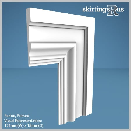Visual Representation of Period MDF Architrave with a primed finish (69mm W x 18mm D)
