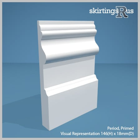 Visual representation of a sample of Period MDF Skirting Board with a primed finish (146mm H x 18mm D)