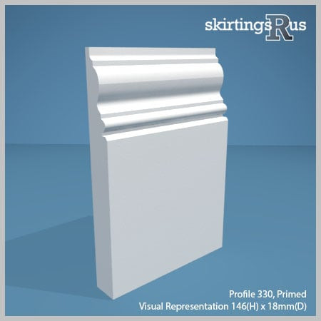 Visual representation of a sample of Profile 330 MDF Skirting Board with a primed finish (146mm H x 18mm D)