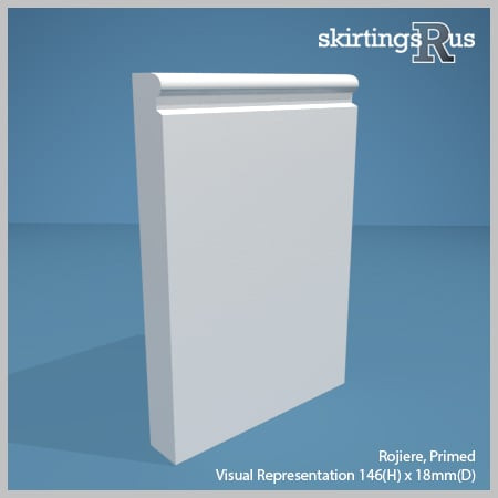 Visual Representation of Rogiere MDF Skirting Board with a primed finish (146mmH x 18mmD)