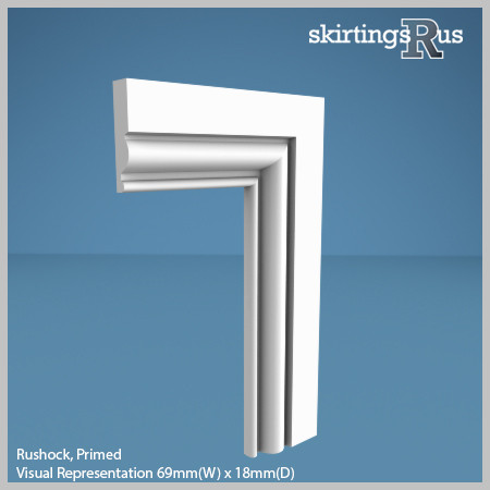 Visual Representation of Rushock MDF Architrave with a primed finish (69mm W x 18mm D)