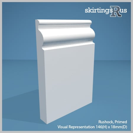 Visual representation of a sample of Rushock MDF Skirting Board with a primed finish (146mm H x 18mm D)