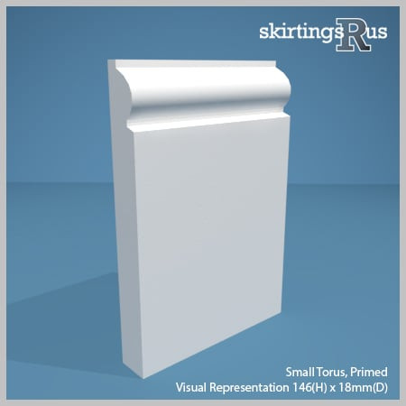 Visual representation of a sample of Torus Small MDF Skirting Board with a primed finish (146mm H x 18mm D)