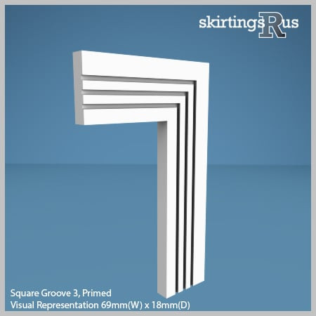 Visual Representation of Square Groove 3 MDF Architrave with a primed finish (69mm W x 18mm D)