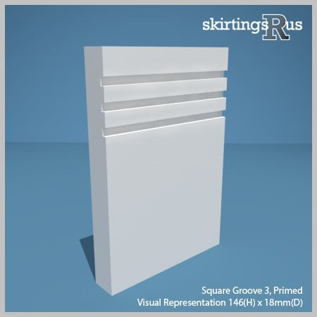 Visual Representation of Square Groove 3 MDF Skirting Board with a primed finish (146mmH x 18mmD)