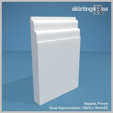 Visual representation of a sample of Stepped MDF Skirting Board with a primed finish (146mm H x 18mm D)