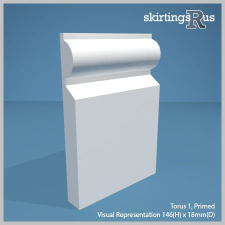 Visual representation of a sample of Torus 1 MDF Skirting Board with a primed finish (146mm H x 18mm D)
