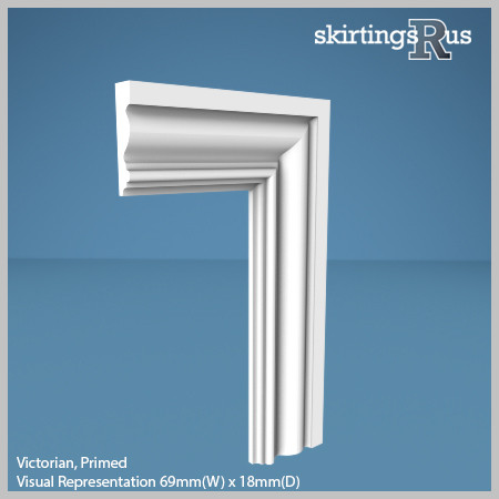 Visual Representation of Victorian MDF Architrave with a primed finish (69mm W x 18mm D)