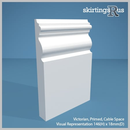 Visual representation of a sample of Victorian MDF Skirting Board with a primed finish (146mm H x 18mm D)