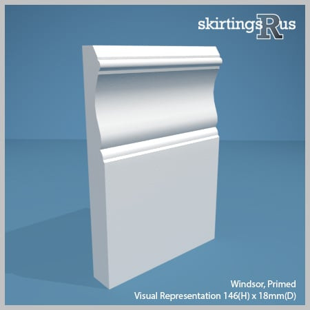 Visual Representation of Windsor MDF Skirting Board with a primed finish (146mmH x 18mmD)