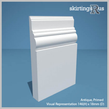 Visual Representation of Antique MDF Skirting Board with a primed finish (146mmH x 18mmD)