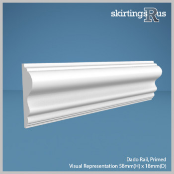 Visual representation of a sample of Dado Rail MDF Skirting Board and Architrave with a primed finish (58mm H x 18mm D)