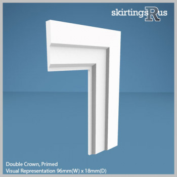 Visual Representation of Double Crown MDF Architrave with a primed finish (69mm W x 18mm D)