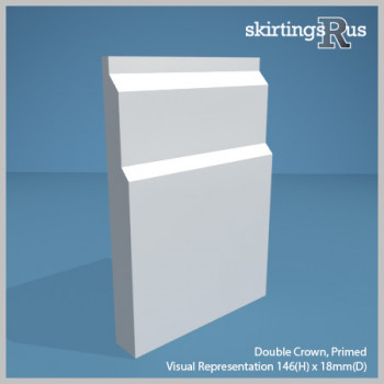 Visual representation of a sample of Double Crown MDF Skirting Board with a primed finish (146mm H x 18mm D)