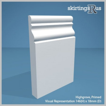 Visual Representation of Highgrove MDF Skirting Board with a primed finish (146mmH x 18mmD