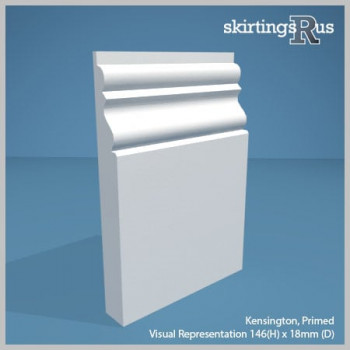 Visual Representation of Kensington MDF Skirting Board with a primed finish (146mmH x 18mmD)