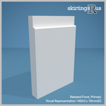 Visual Representation of Rebated Front MDF Skirting Board with a primed finish (146mmH x 18mmD)