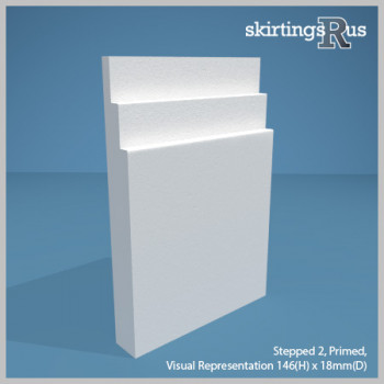 Visual representation of Stepped 2 MDF Skirting Board (146mm H x 18mm D)
