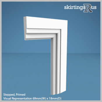 Visual Representation of Stepped MDF Architrave with a primed finish (69mm W x 18mm D)