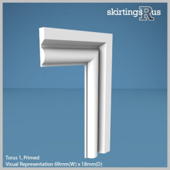 Visual Representation of Torus 1 MDF Architrave with a primed finish (69mm W x 18mm D)
