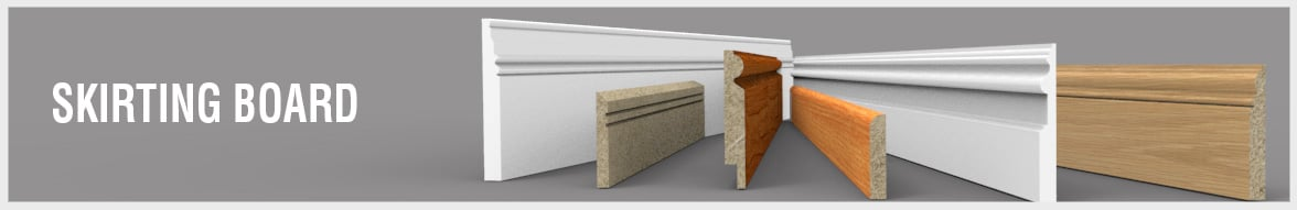 Various skirting board shapes, sizes and finishes